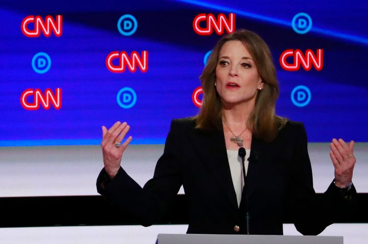 Marianne Williamson speaks on the first night of the second 2020 Democratic presidential debate in Detroit, Michigan, July 30