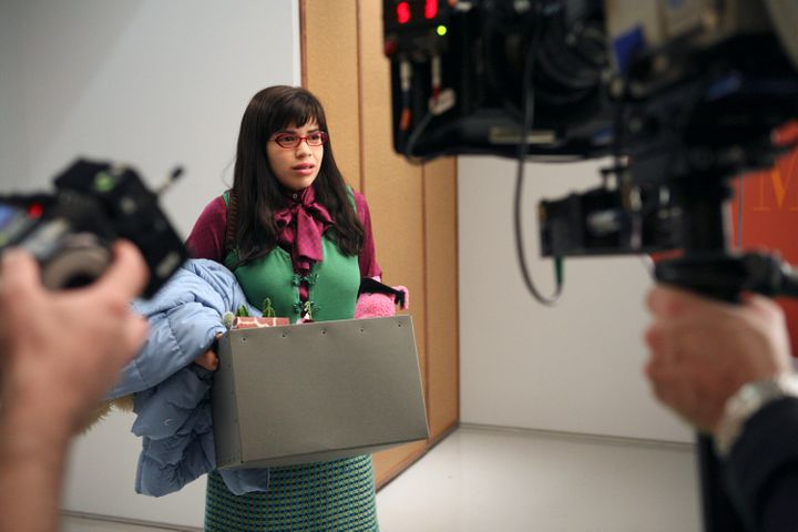 "Ferrera films a scene as Betty Suarez in the first season of ""Ugly Betty."""