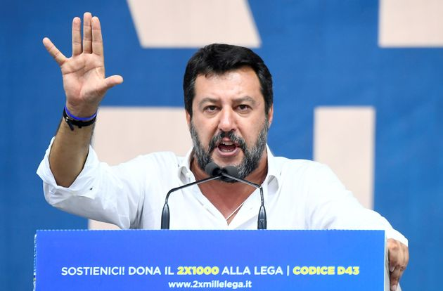 League party leader Matteo Salvini gestures as he gives a speech during a rally in Pontida, Italy, September...