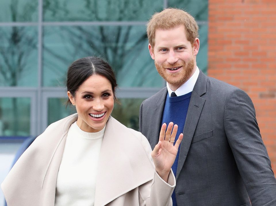 Harry and Meghan pictured after a visit to a science park called Catalyst Inc., in Belfast, Northern...