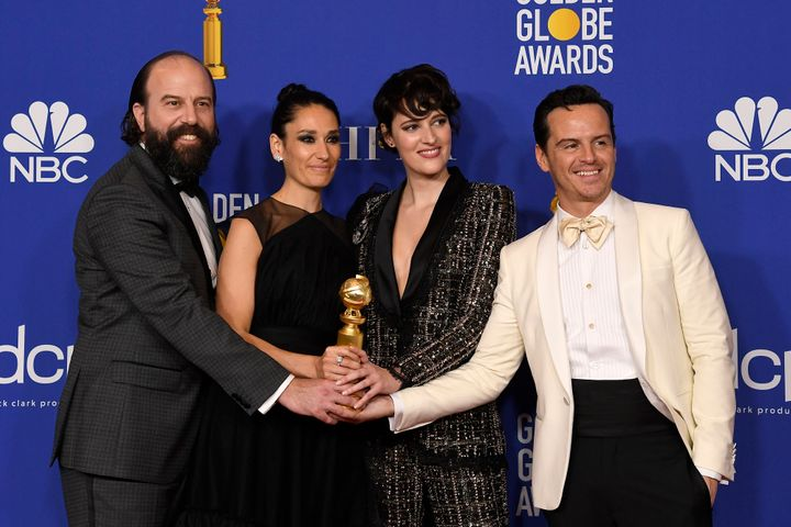 "Waller-Bridge (second from right) with her ""Fleabag"" castmates Brett Gelman, Sian Clifford and Andrew Scott."