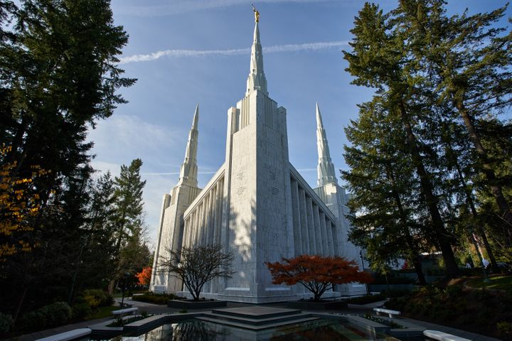 The Portland Oregon Temple for the Church of Jesus Christ of Latter-day Saints is pictured.