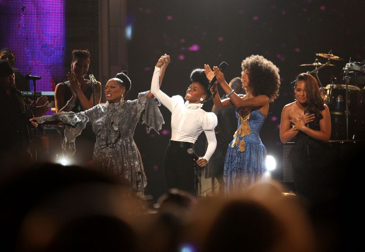 Patti LaBelle, Janelle Monáe, Esperanza Spalding and Alicia Keys perform a tribute to Prince during the 2010 BET Award
