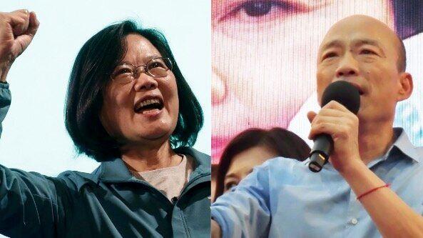 蔡英文総統(左)と韓国瑜氏(右)
