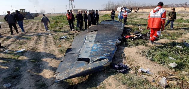 General view of the debris of the Ukraine International Airlines, flight PS752, that crashed on the outskirts...