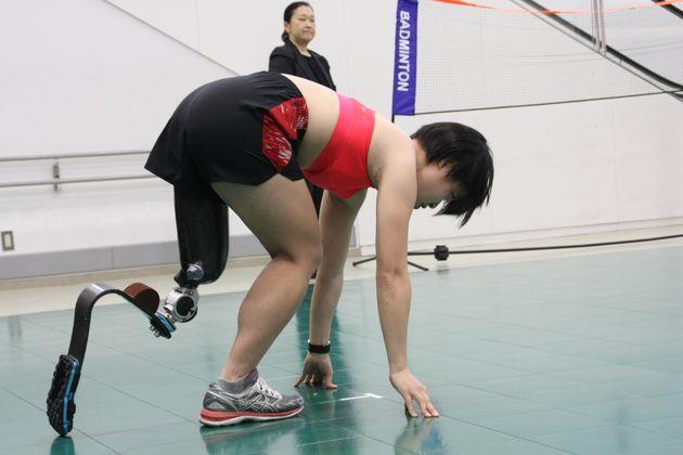 競技デモンストレーションする兎澤朋美選手