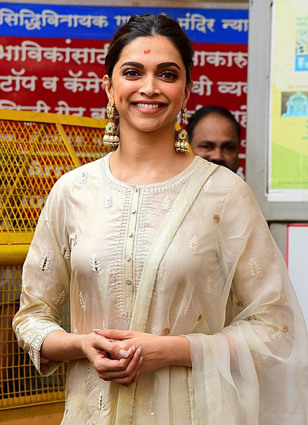 Bollywood actress Deepika Padukone leaves after visiting a Hindu temple in Mumbai on January 10,