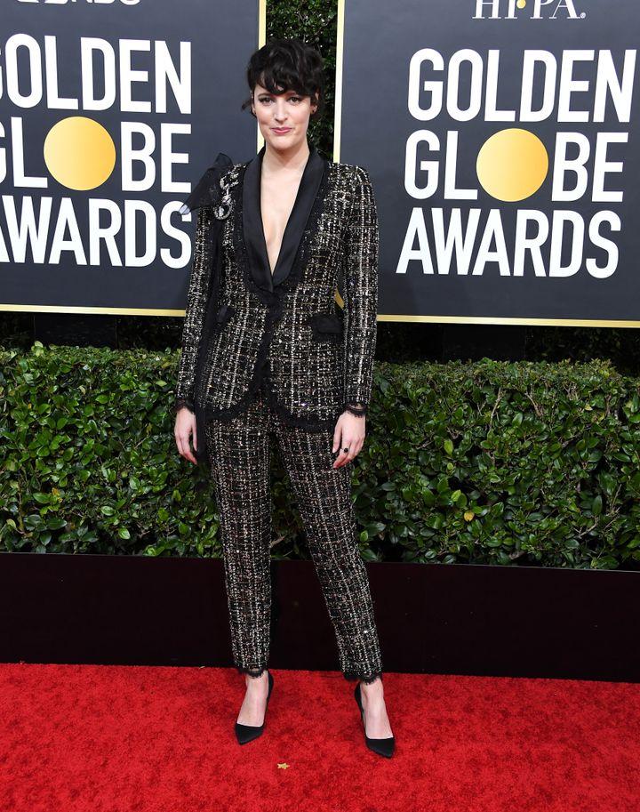 Phoebe Waller-Bridge arrives at the Golden Globes