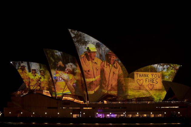 Sydney Opera House illuminated for bushfire victims. Photo: Brook