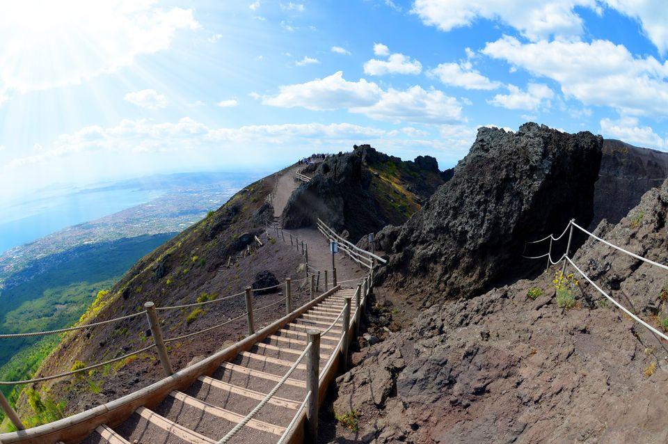 Hiking trail on Vesuvius volcano. Campania region,