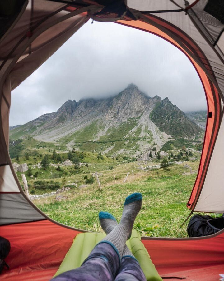 The author camping in Les Contamines, France.