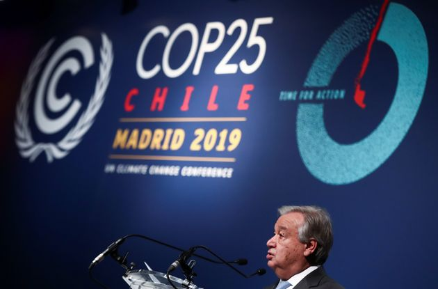 United Nations Secretary-General Antonio Guterres speaks during the U.N. Climate Change Conference in...