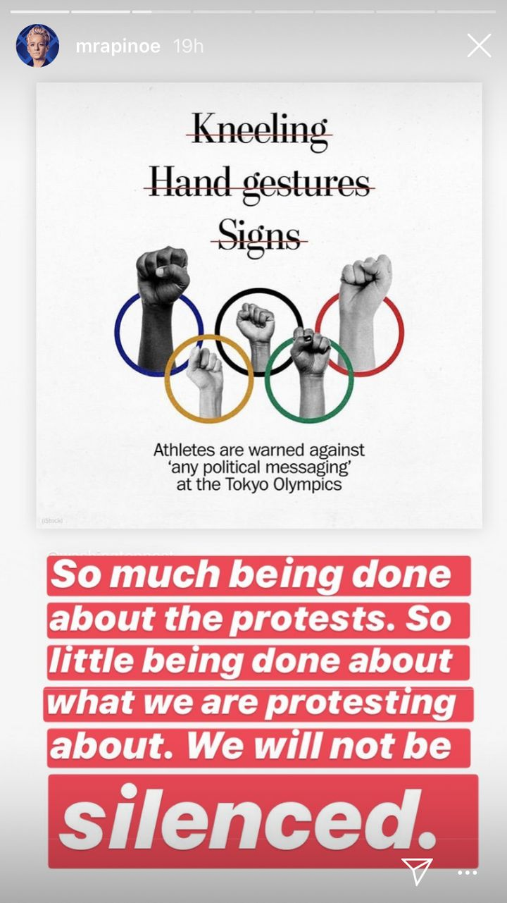 Megan Rapinoe's Instagram story in response to the International Olympic Committee's protest ban.