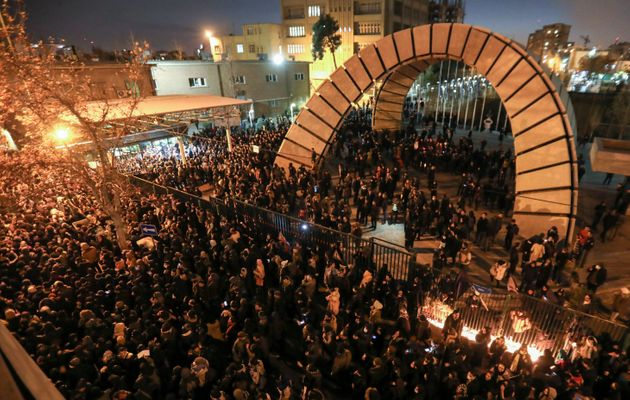 Iranian students demonstrate on Saturday following a tribute for the 176 people who were killed after...