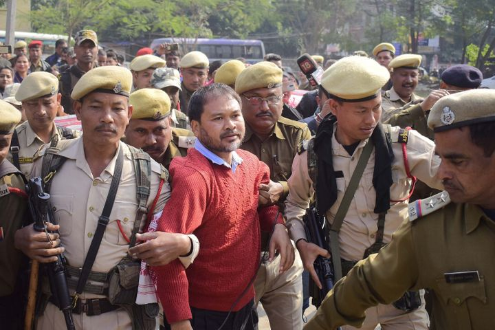 Assam based anti -Corruption and Right to imformation Activist Akhil Gogoi being produced at an NIA court in Guwahati.