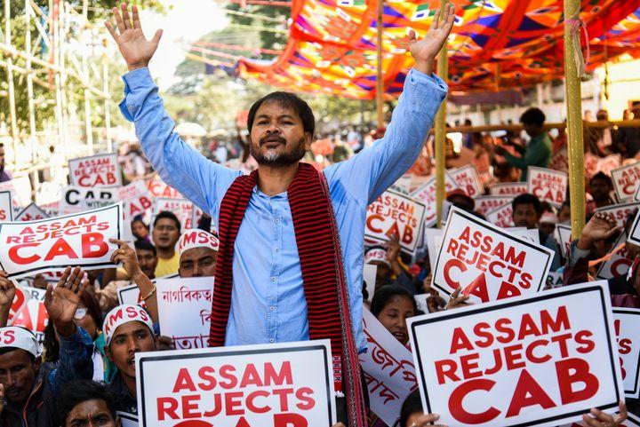 Krishak Mukti Sangram Samiti (KMSS) adviser Akhil Gogoi and KMSS members during the protest against the Citizenship Amendment Bill 2016 in Guwahati, Assam, on 5 December 2019.