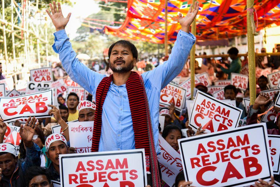 Krishak Mukti Sangram Samiti (KMSS) adviser Akhil Gogoi and KMSS members during the protest against the...