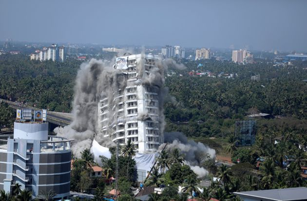 High-rise luxury apartment apartment Holy Faith H2O is brought to the ground by controlled implosion...