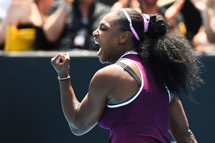 United States' Serena Williams celebrates a point during her quarter finals singles match against Germany's Laura Siegemund a
