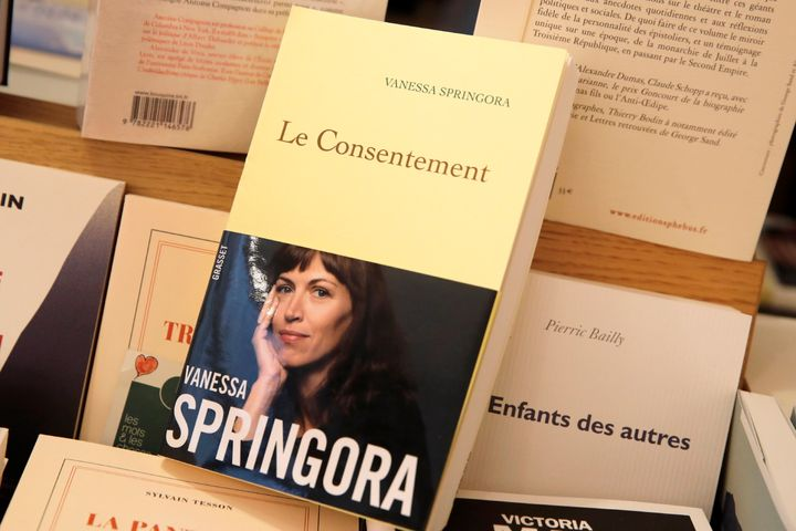 "This photo taken Thursday, Jan. 2, 2020 shows the book ""Le Consentement"" (Consent) by Vanessa Springora and displayed in a Bo"