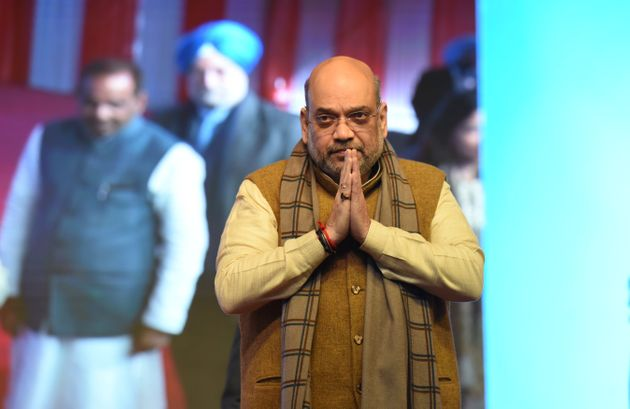 Amit Shah at the foundation laying ceremony of the Delhi Cycle Walk, at Tughlakabad on January 6, 2020...