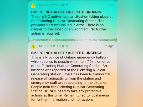 A screengrab of an emergency alert from the Ontario government issued on Jan. 12,
