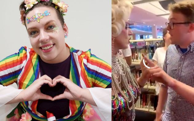 Drag Queen stormed in their workplace by a right-wing student politics group is looking into legal options.