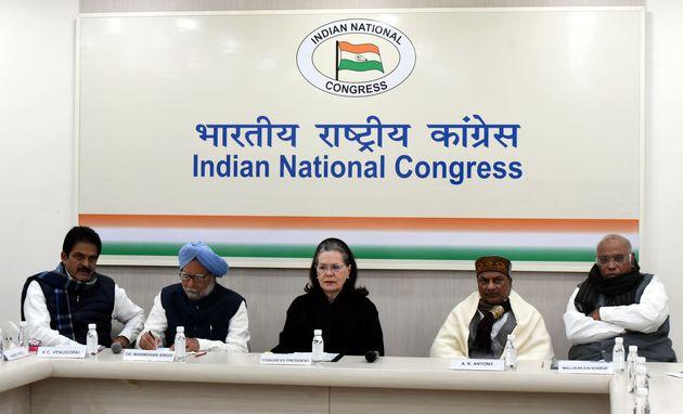 Congress interim president Sonia Gandhi, former prime minister Manmohan Singh, Mallikarjun Kharge, AK...