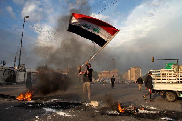 Protestas en Bagdad contra los ataques de Irán en su país, el pasado día 8 de