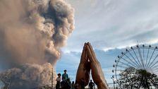 溶岩湧からフィリピン火山として灰に広がマニラ