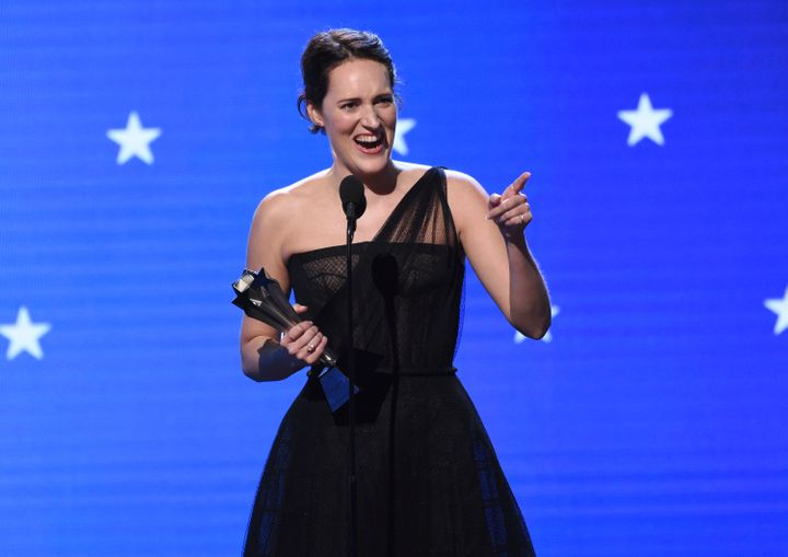 "Phoebe Waller-Bridge accepts the award for best actress in a comedy series for ""Fleabag"" at the 25th annual Critics' Choice A"