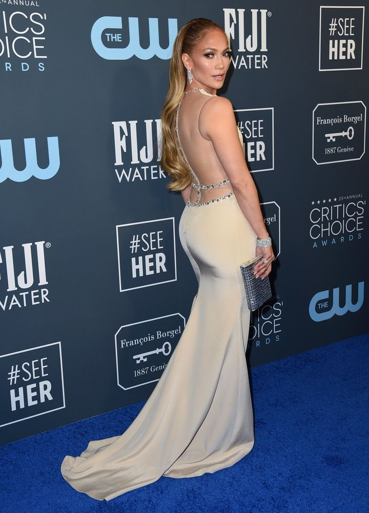Jennifer Lopez arrives at the 25th annual Critics' Choice Awards.
