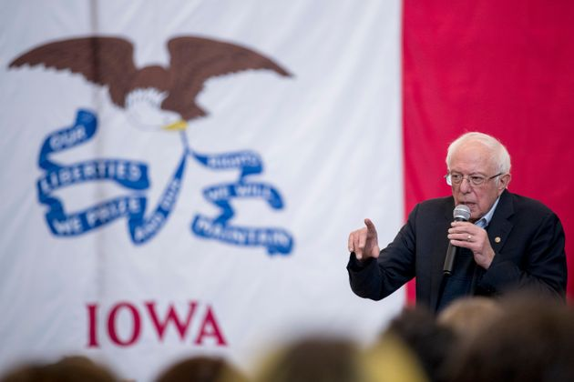 Democratic presidential candidate Sen. Bernie Sanders, I-Vt., speaks at Berg Middle School, Saturday,...