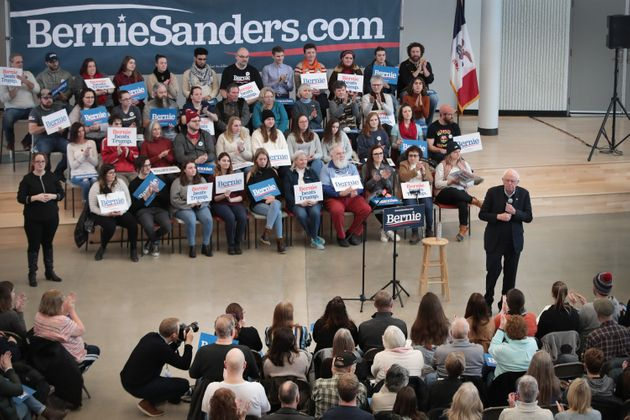 NEWTON, IOWA - JANUARY 11: Democratic presidential candidate Sen. Bernie Sanders (I-VT) speaks to guests...