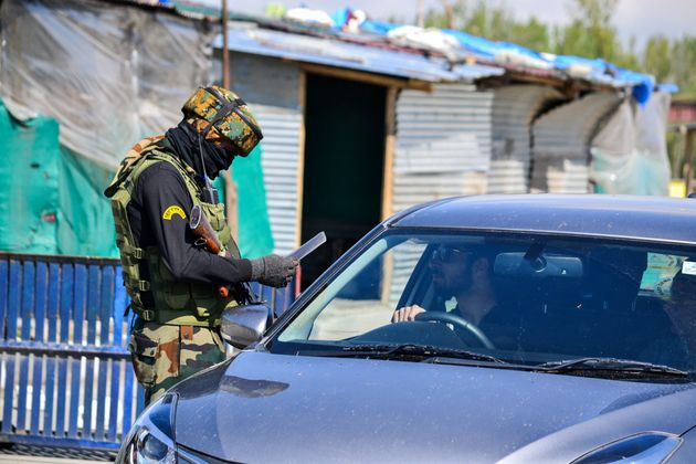 Representative image of a checkpoint in Jammu and Kashmir. (Photo by Saqib Majeed/SOPA Images/LightRocket...