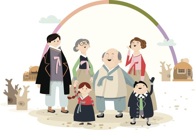 Illustration of family wearing Korean traditional clothes to celebrate the new year's