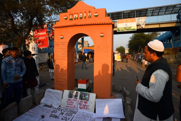 A miniature replica of India Gate near the site of the indefinite sit-in at Shaheen Bagh, on January...