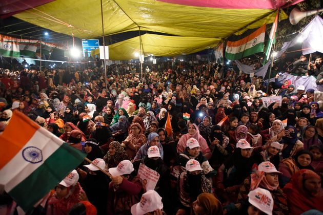 Women protesting against CAA and NRC at Shaheen Bagh, on January 12,