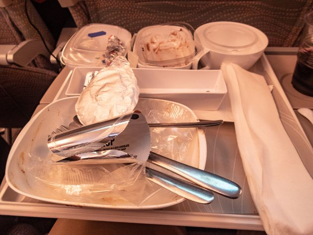 The waste from a meal on an Emirates