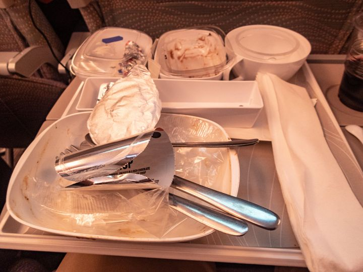 The waste from a meal on an Emirates flight.