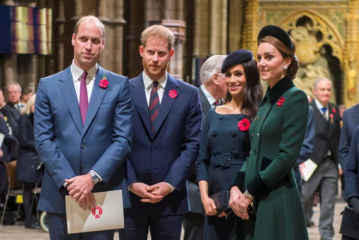 William, Kate Middleton, Prince Harry and Meghan Markle arrive for an Armistice Service at Westminster Abbey on Nov. 11, 2018.