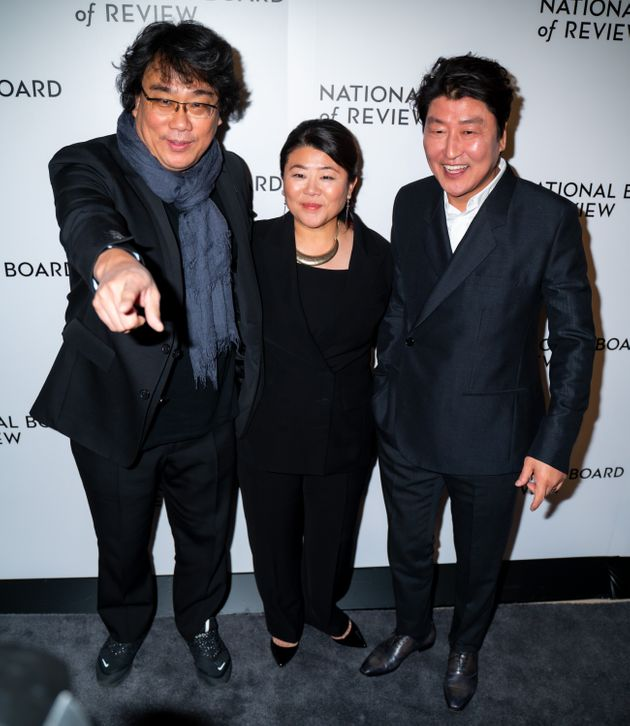NEW YORK, NEW YORK - JANUARY 08: (L-R) Bong Joon-Ho, Lee Jeong-eun and Song Kang-ho attend the 2020 National...