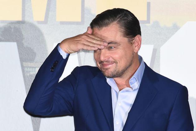Actor Leonardo DiCaprio smiles during a premiere of