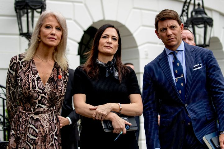 From left, counselor to the president Kellyanne Conway, White House press secretary Stephanie Grisham, and Deputy White House