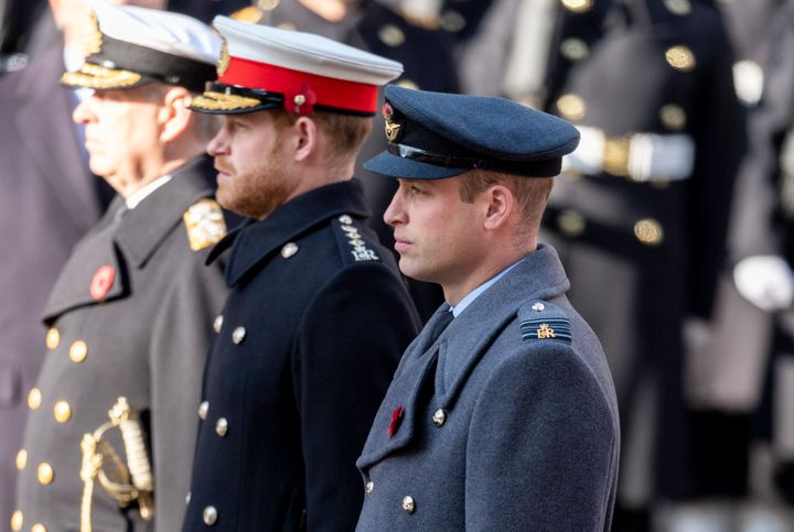 William and Harry attend the annual Remembrance Sunday memorial at The Cenotaph on Nov. 10, 2019 in London.
