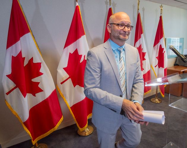 Justice Minister David Lametti leaves after a news conference on Aug. 1, 2019 in