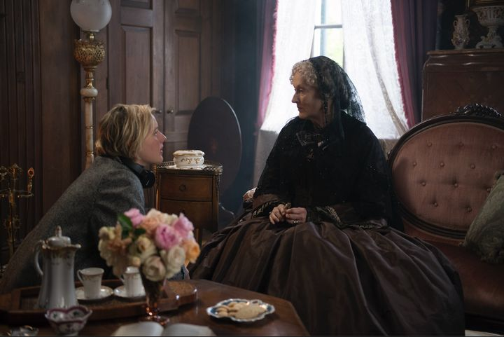 "Greta Gerwig and Meryl Streep on the set of ""Little Women."""