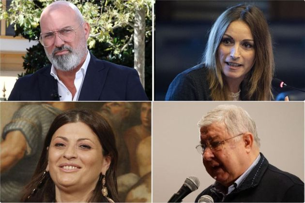 In alto Stefano Bonaccini, candidato Pd in Emilia Romagna e Lucia Borgonzoni, candidata leghista. In...