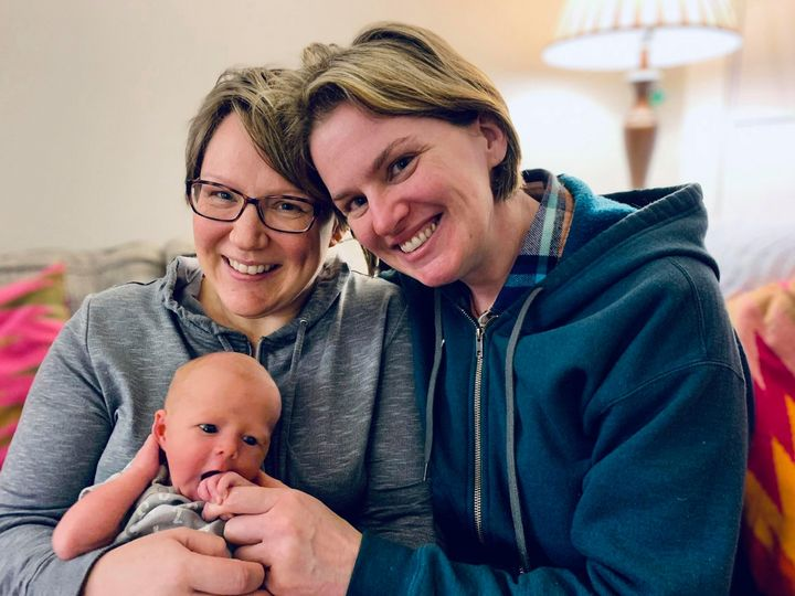 B.C. MLA Jennifer Rice with her wife, Andrea Wilmot, and their son Lua.