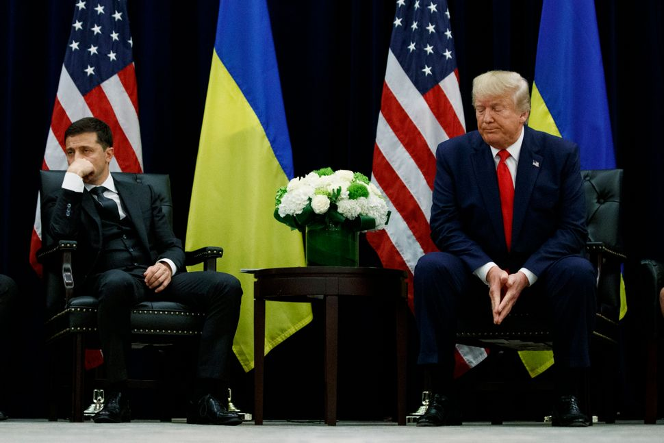 In this Sept. 25, 2019, file photo, President Donald Trump meets with Ukrainian President Volodymyr Zelenskiy during the Unit